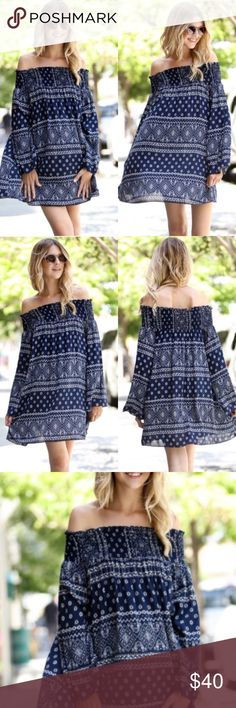 ❣LAST-XS/S❣ Gorg Boho Scrunch Off Shoulder Dress Perfect for end of summer/start of fall! Boho print dress with scrunched off shoulder style top. Runs slightly small.Available  in small (0-4) medium (6-8 and large (10-12) Dresses Mini