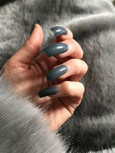 Excited to share this item from my shop: deep grey Creme american curve long false nails coffin square Polygel Nails, Sexy Nails, Glue On Nails, Coffin Nails, Long Natural Nails, Long Nails, Grey Acrylic Nails, Curved Nails, Nail Polish Hacks