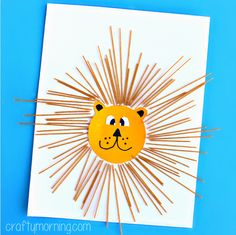 Learn how to make this spaghetti lion craft using noodles, glue, and paper! It's a fun art project for kids to make.