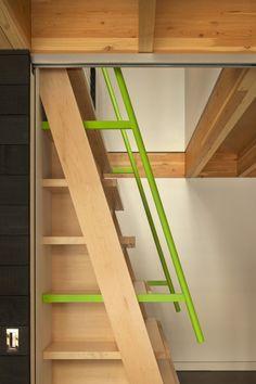 Loft ladder Kicking Horse Residence Bohlin Cywinski Jackson + Association with Bohlin Grauman Miller Architects Tiny House Stairs, Attic Stairs, Modern Staircase, Staircase Design, Staircase Metal, Wooden Stairs, Residential Architect, Architect Design, Ideas Terraza