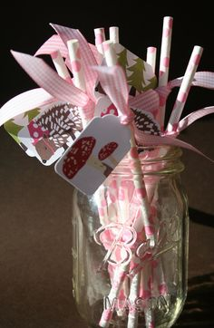 Woodland Party Straws if it is a girl