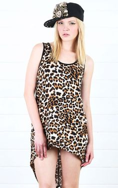 Animal Print High Low Tank Top LEOPARD
