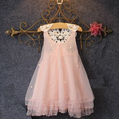 2015 new summer fashion girls pearl vest sleeveless lace dress Tutu children sweet princess dresses kids clothes