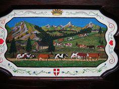 par Haz art   poyas et peintures savoyardes Embroidery Patches, Cows, Monuments, Switzerland, Illustration Art, Painting, France, Cow, Cities