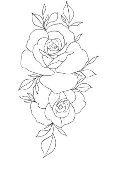 Rosen Tattoo Outlines, Tattoo Outline Drawing, Rose Drawing Tattoo, Tattoo Design Drawings, Art Drawings Sketches, Tattoo Sketches, Rose Tattoos, Flower Tattoos, Rosa Stencil