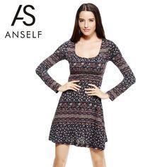 Floral Soft Knit Dress Long Sleeves #Anself #ALineDress
