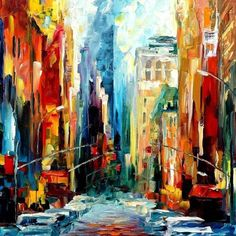 New York Painting - New York, Early Morning — America Oil Painting By Leonid Afremov. Usa Wall Art, States Artwork, Size: X Inches New York Painting, City Painting, Oil Painting On Canvas, Painting Prints, Street Painting, Art Prints, Examples Of Modern Art, Canvas Wall Art, Canvas Prints