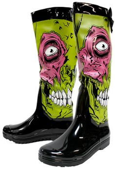 OMG a must have rain boot for the Zombie lover's out there....even has a cute lil bow and it zips down the back for easy access.