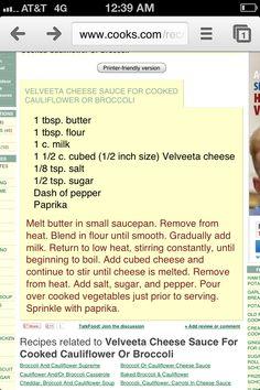 Velveeta Cheese sauce for broccoli :) Velveta Cheese Sauce, Cheese Sauce For Broccoli, Broccoli Recipes, Cauliflower Recipes, Veggie Side Dishes, Side Dish Recipes, Cheese Dip Mexican, Velveeta Recipes, Sauce Recipes