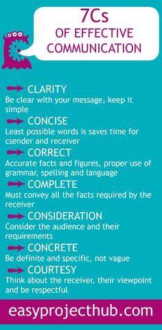 Communication is key. 7 C's of effective communication.