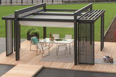 Modern Metal Pergola Design with Trellis for the Small Patio in the Backyard complete with Modern Patio Table and Chairs on Wooden Floor decorated with Modern Potted Plants - Functional Modern Pergola Design – VizDecor