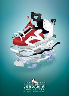 (projet personnel)Dessin du modèle de basket Nike Air Jordan sur illustrator.Déclinaison en mode éclaté.Mise en page des affiches A1 sur Photoshop.