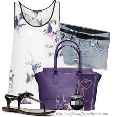Purple Flowers, Denim & Black, created by steffiestaffie on Polyvore