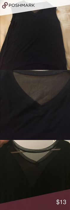 Black v-neck hi-low t-shirt Flowy black hi-low top with mesh detail around the neckline and also on the back. Hard to show in the pictures but the back has a mesh v at the top for a little added interest. Worn once. Tops
