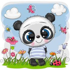 Illustration about Cute Cartoon Baby Panda on a meadow with flowers and butterflies. Illustration of greeting, childbirth, celebrations - 144262453 Cute Panda Cartoon, Owl Cartoon, Cute Cartoon Girl, Baby Cartoon, Cartoon Girl Images, Cute Cartoon Pictures, Baby Animal Drawings, Cartoon Drawings, Cute Little Drawings