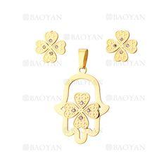 juego colgante y aretes de trebol en acero dorado inoxidable -SSSTG1074312