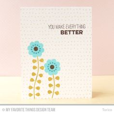 Handmade card from Torico featuring the Myriad Dot Background stamp.