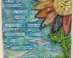 Altered Canvas Mixed Media Collage Flower Wall Decor Quote