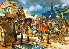 oba (king) of the benin empire receiving a group of portuguese ambassadors in the 16th century AD