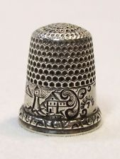 Antique D. C. Percival Sterling Silver Thimble Harbor Lighthouse Sailboat Scene