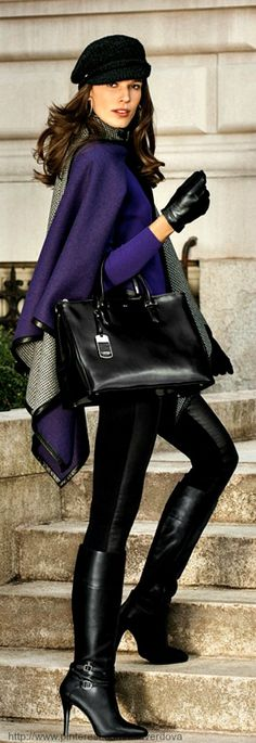 Fall/ winter outfit ideas. Purple cape/ sweater. Black leggings/ tall black boots/ bag. Ralph Lauren Style Guide