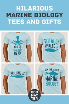 Hilarious Marine Biology Tees and Gifts - Looking for the perfect gift idea for a marine biologist? Buy these funny t-shirts with humorous puns and sayings. Biology Humor, Chemistry Jokes, Grammar Humor, Science Jokes, Funny Puns, Funny Tweets, Funny Quotes, Song Words, Teacher Memes
