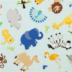 blue Riley Blake knit fabric with animals from the USA