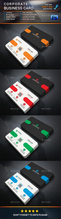 Corporate Business Card Design Template PSD. Download here: http://graphicriver.net/item/corporate-business-card-design/15236526?ref=ksioks