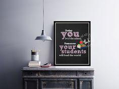 #teaherappreciationweek #Teacher woman | #School | #Chalkboard | | #Motivation | Inspiration | #Quote | Art Print | #Typography | Home Decor Print | Printable by InspirationWallDecor on Etsy. Check more #digitalprint #walldecor #artprint themed at my #etsy store:  www.etsy.com/shop/InspirationWallDecor