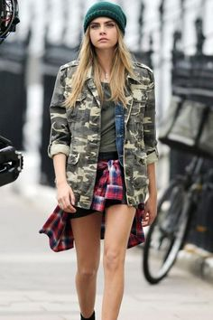 Cara Delevingne workin' the layers under her army jacket!