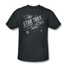 Star Trek TV Show OG Enterprise Through Space Youth Ladies Jr Men T-shirt Top #Trevco #GraphicTee