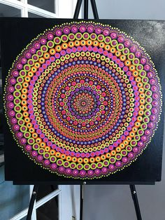 Original Mandala Painting on Canvas, Dotilism, Dot Painting, Aboriginal Art, Henna Meditation Art, Healing/Calming, Hand Painted Acrylic paint on canvas, sprayed multiple times with high gloss sealer to protect paint and aging. Colors are: pinks, oranges, greens, purples Background