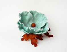 Felted brooch nuno felt flower from wool and silk by Roltinica