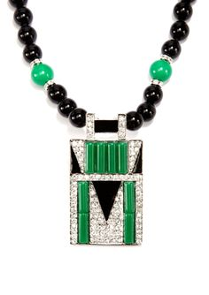 KENNETH JAY LANE Deco Crystal Pendant Beaded Necklace