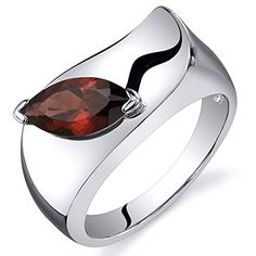 Garnet Ring in Sterling Silver with Rhodium Nickel Finish, Marquise Shape 1.25 Carats