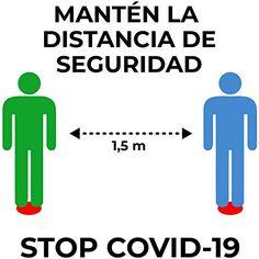Señalización personalizada distancia de seguridad COVID-19 - Medidas de seguridad contra el Coronavirus y otras pande...