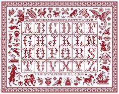 Tableau d'Emilienne red cross stitch sampler from Clorami Designs. www.clorami-designs.be