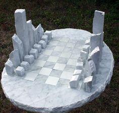"""Carrara mramor Budovy, konstrukce a jejich díly sochy nebo plastiky umělcem Krystyna Sargent s názvem: """"Šachy jako umění - New York (vyřezávané mramoru šachy hra sochy na prodej)"""""""