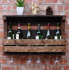 Simply Rustic 7-8 Bottle Wall Mount Wine Rack with 6 Glass Slot Holder & Top Shelf