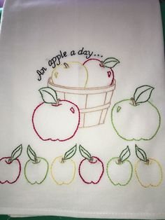 APPLES - NEW Hand embroidered 30 X 30 flour sack dish towel #Handembroideredwithallnewmaterials
