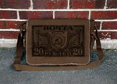 Messenger Bag with Russian Sickle and Hammer old Postage Stamp