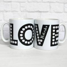 'Love is all around' - on this gorgeous mug which features tiny Frida cat faces. In stylish black and white, it can be personalised with a name of your choice and would make a wonderfully unique gift. Valentine Day Gifts, Valentines, Cat Mug, Personalized Mugs, Cat Face, Love Is All, Gifts For Him, Unique Gifts, Tableware