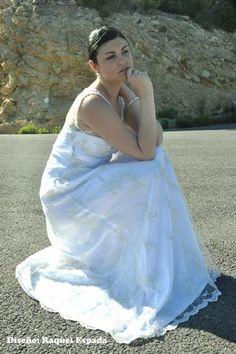 Dress: Raquel Espada  Lace and rhinestones wedding dress