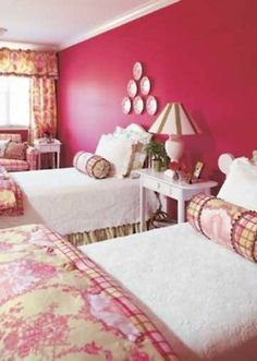Toile and Pink! Would love this as a guest bedroom! LOVE THIS FABRIC