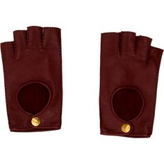 Hermes Conduite 2 Fingerless Gloves (16,515 THB) ❤ liked on Polyvore featuring accessories, gloves, burgundy, burgundy gloves, hermes gloves, leather gloves, fingerless gloves and hermès