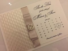 25x Personalised Crystal Wedding Save the Dates, Handmade Calendar Card, Embossed design, choice of ribbon colours