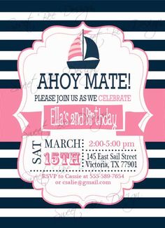Nautical Birthday Invitation - Baby Shower Invitation by SweetBeeDesignShoppe on Etsy https://www.etsy.com/listing/176036057/nautical-birthday-invitation-baby-shower