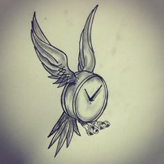 Time flies tattoo sketch by - Ranz