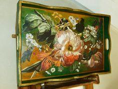 vassoio in legno decorato a decoupage