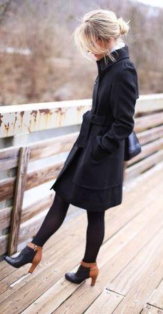 Black coat + two-tone boot.